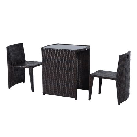wicker bistro chair cushion outsunny 3pcs outdoor wicker rattan bistro set patio chair