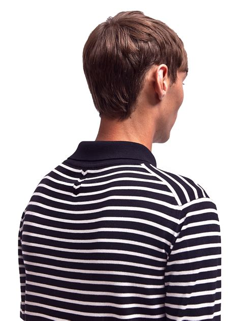 Stripe Sleeved Sweater 15217 laurent mens merino wool sleeved striped polo