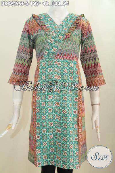 Baju Wanita Paling produk busana batik wanita paling baru dress batik resleting belakang kombinasi dua motif nan
