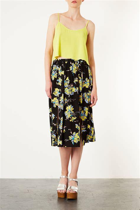 Flower Printed Puffball Skirt For A Summer Garden by Yellow Floral Midi Skirt Dress Ala