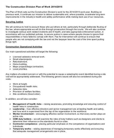 41 Sle Work Plans Sle Templates Construction Work Plan Template