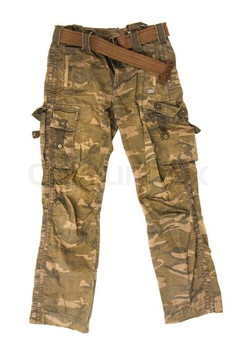 design lab grunge camo pants camouflage pants isolated on white background stock