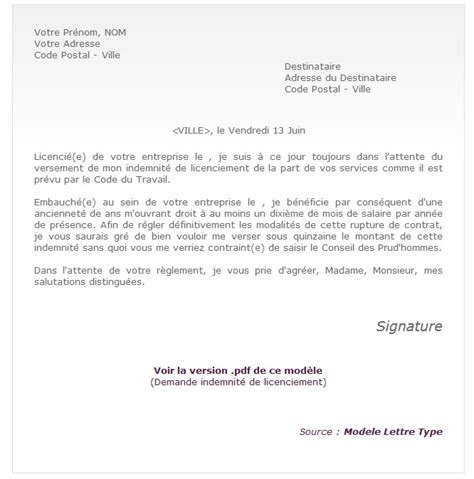 modele lettre licenciement abandon de poste document