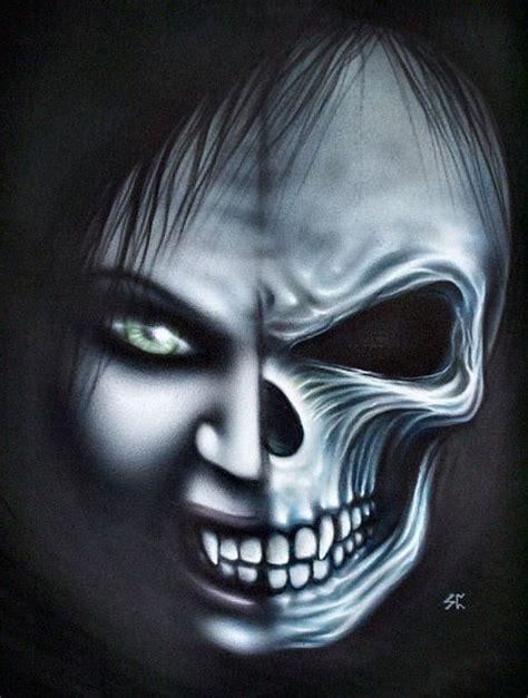 art original gothic art  vampire skull face painting