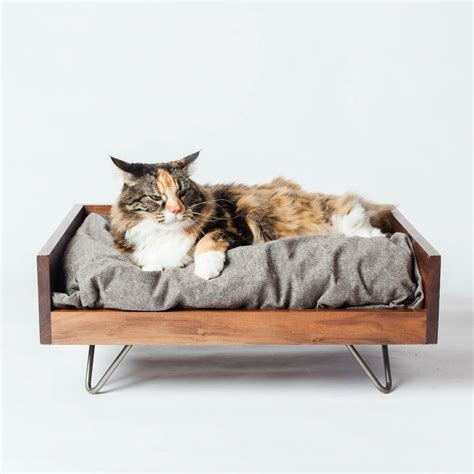 Cat On Bed by Walnut Cat Bed Cat Bed Maple Cat Bed Washable Cat Bed Etsy