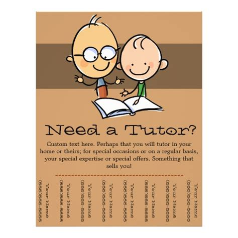 tutor tutoring promotional tear sheet flyer zazzle