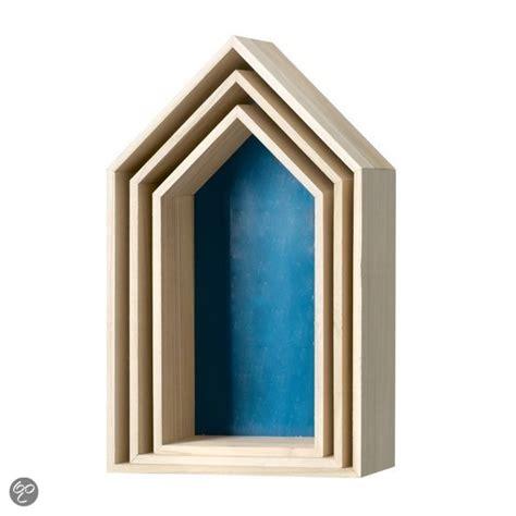 box 3 eigen huis bol bloomingville wandmeubel box huis blauw set