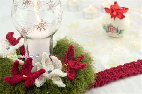 fiori natalizi all uncinetto ghirlanda centrotavola con stelle di natale all uncinetto