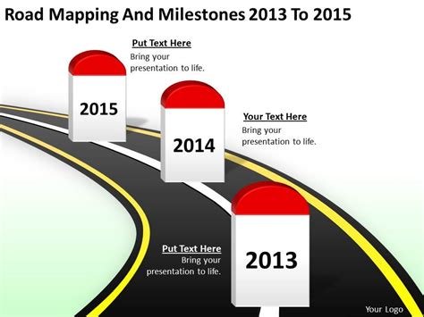 Product Roadmap Timeline Road Mapping And Milestones 2013 To 2015 Powerpoint Templates Slides Milestone Roadmap Template