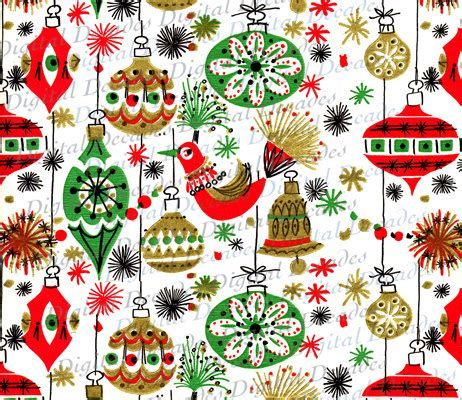 funky mid century christmas ornaments background digital