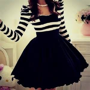 Girlyoutfits tumblr dress adorable cute dress stripes bows black