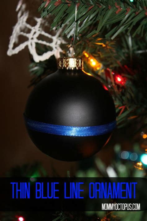 thin blue line christmas ornament for law enforcement