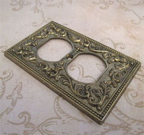 decorative outlet covers outlet cover plate 1960s vintage metal switchplate