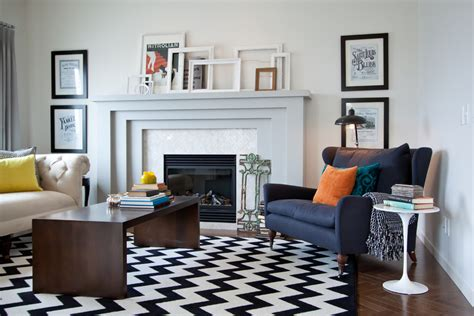 Black And White Living Room Rug by Herringbone Wood Floor Living Room Transitional With Black
