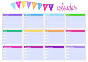 Birthday List Template By Month Birthday Calendar Calendar Template Free Amp Premium