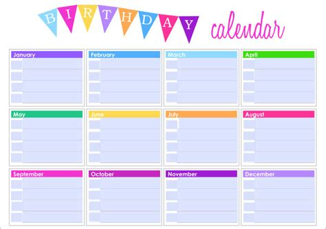 Birthday Calendar Template Microsoft Word