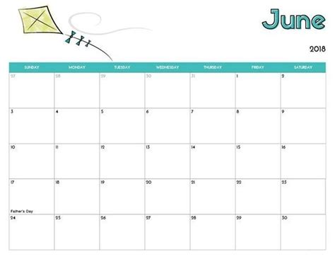 printable calendar 2018 doc june calendar printable 2018 editable doc free download
