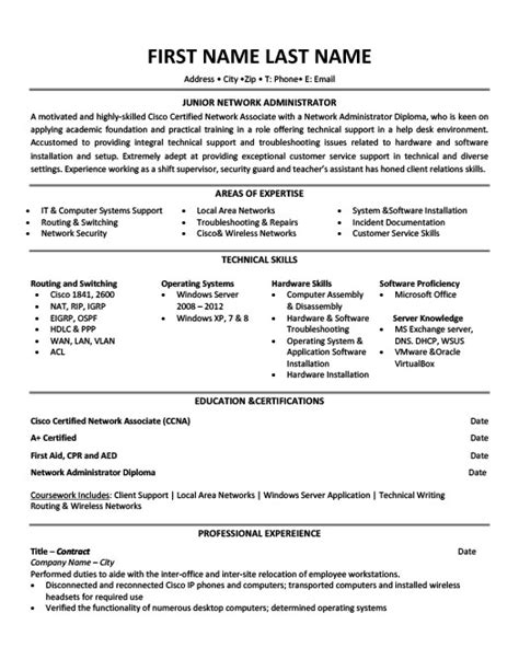 Resume Exles Network Administrator Sle Resume For Junior Network Administrator Augustais