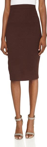 lhuillier wool pencil skirt chocolate in brown 6