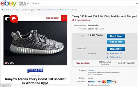 kanye west s sold out yeezy boost 350 sneakers on ebay at upwards of 10 000 daily mail