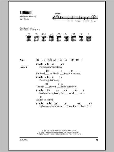nirvana dive lyrics lithium sheet direct