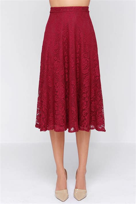 pretty burgundy skirt midi skirt lace skirt high