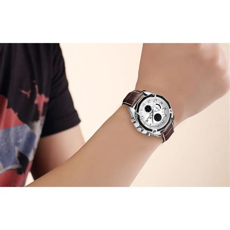 Megir Jam Tangan Analog Ml2015gbn Brown White megir jam tangan analog ml2015gbn brown white