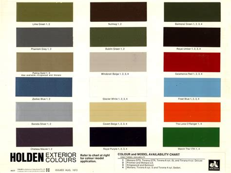 posted image holden hq colours paint charts
