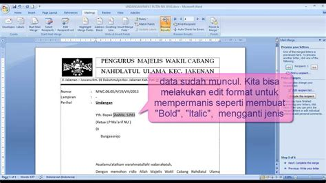 cara membuat mail merge office 2013 cara mudah membuat mail merge ms word youtube
