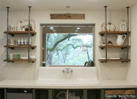 industrial pipe shelves tutorial they work great anywhere industrial pipe kitchen shelving domestic imperfection