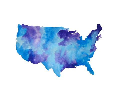 Shower Curtain Map Watercolor Usa Map Painting By Michelle Eshleman