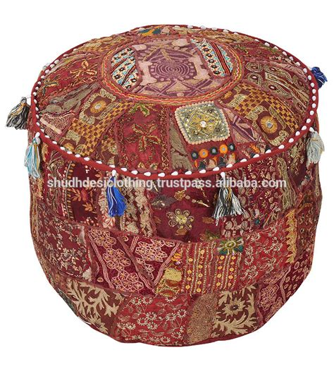 ottoman india square shape ottoman with patch embroidery work pouf