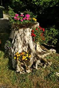 baumstamm dekoration blumen baumstumpf natur dekoration