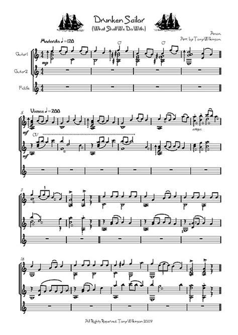 Drunken Sailor Chitarra, Fiddle - Spartiti - Cantorion