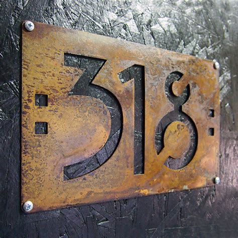 house number signs custom mini mission style house numbers in rusted steel