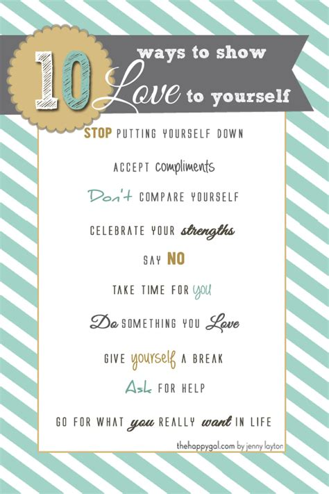 12 Ways To Show To Yourself by Ten Ways To Yourself The Happy Gal