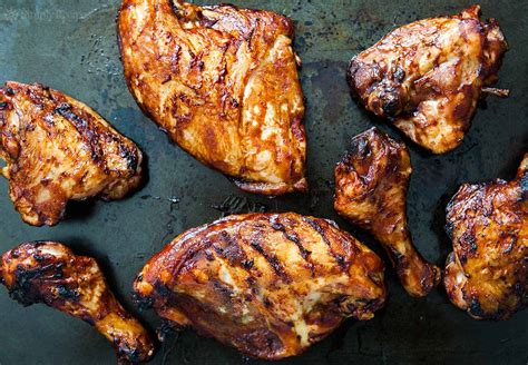 barbecued chicken on the grill recipe simplyrecipes com