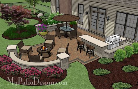 patio and pit ideas with integrated seating patio
