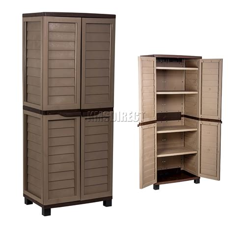 armoire with shelves starplast outdoor plastic garden utility cabinet with 4