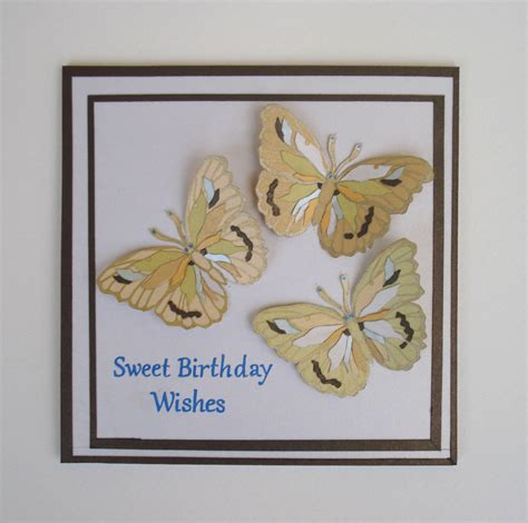 Unique Handmade Card - butterflies birthday card unique handmade by tiptopartshop