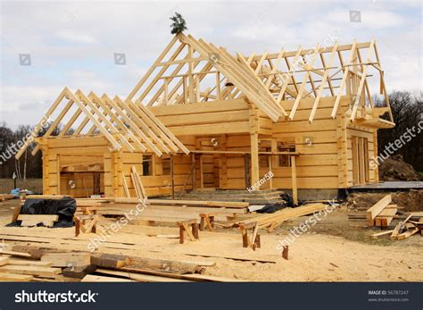 building your home unfinished ecological wooden house building area stock