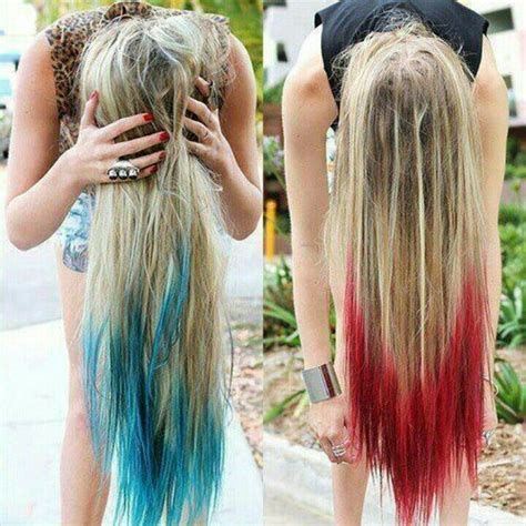 tips on the bottom of hair dip dyed blonde hair color with long red green highlights