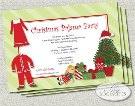 ideas for funny christmas pajama party items similar to pajamas printable invitations jammies tree presents