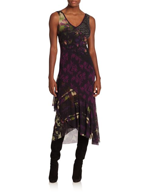 Patchwork Dress - fuzzi tulle patchwork layered maxi dress in purple lyst