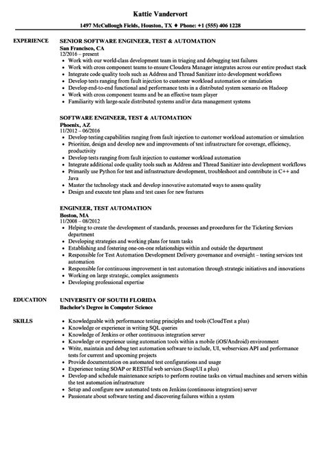 automation test engineer sle resume engineer test automation resume sles velvet