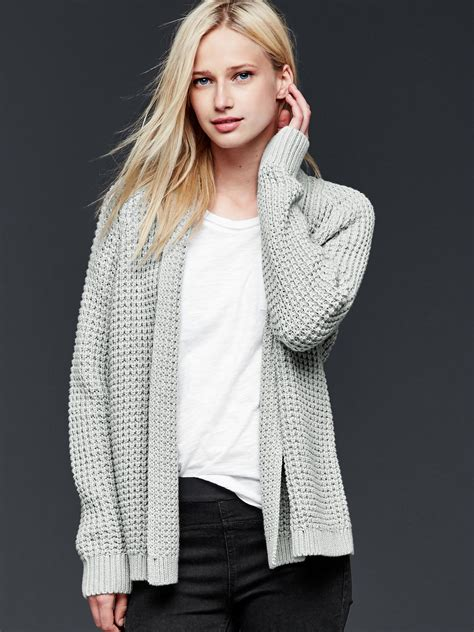 knit open front cardigan gap chunky knit open front cardigan in beige grey
