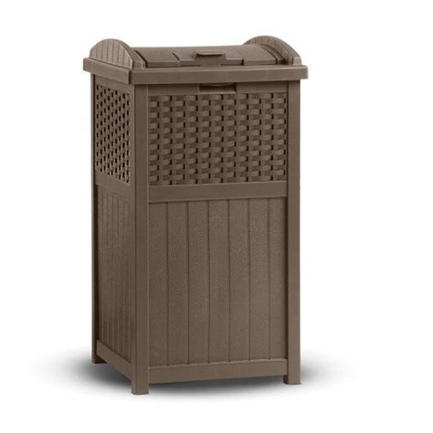 lowes outside storage containers suncast 30 gal trash receptacle deck box lowe s canada