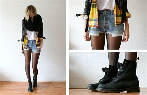 sietske l h m scarf olive clothing checked shirt vintage shorts dr martens boots checked
