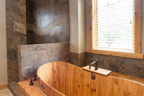 Western Bathroom Designs Brasada Ranch Custom Designed Master Bathroom Wood Soaking Tub No Door Shower Rustic