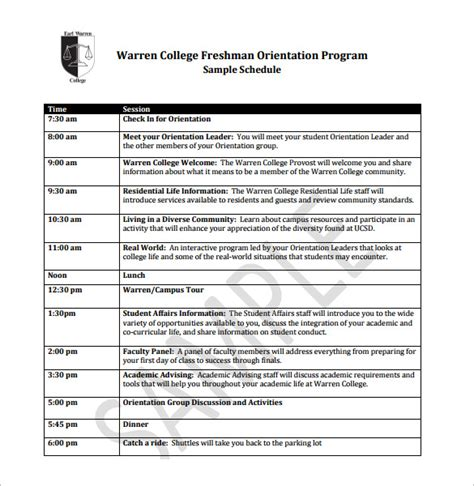 orientation schedule templates 11 free word excel pdf